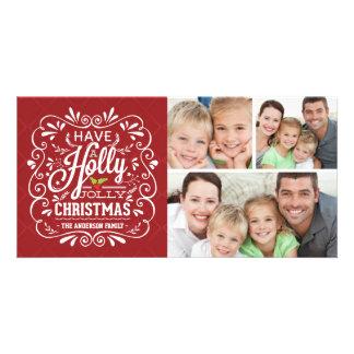 Collage alegre de la pizarra 3-Photo del navidad Tarjetas Fotográficas