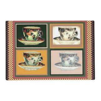 Collage alterado del arte de la taza de té del tapete individual