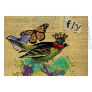 Collage alterado pájaro Notecards del arte del Tarjeta Pequeña