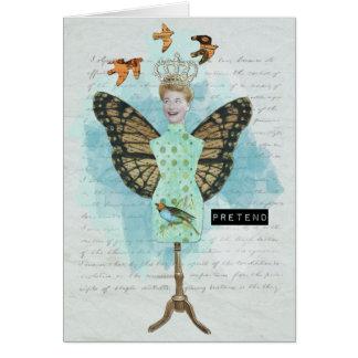 Collage alterado vintage Notecard del arte Tarjeta Pequeña