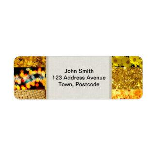 Collage amarillo de la fotografía etiquetas de remite