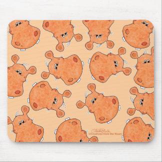 Collage anaranjado de la cabeza del hipopótamo alfombrillas de ratones