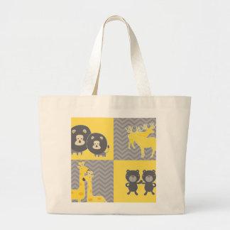 Collage animal en el llano y el galón del zigzag bolsa lienzo