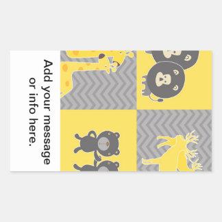 Collage animal en el llano y el galón del zigzag rectangular altavoces