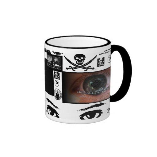 Collage anónimo del pirata tazas de café