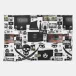 Collage anónimo del pirata toallas de cocina