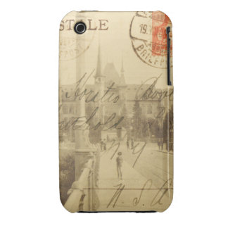Collage antiguo de las Ephemeras de la postal iPhone 3 Case-Mate Funda