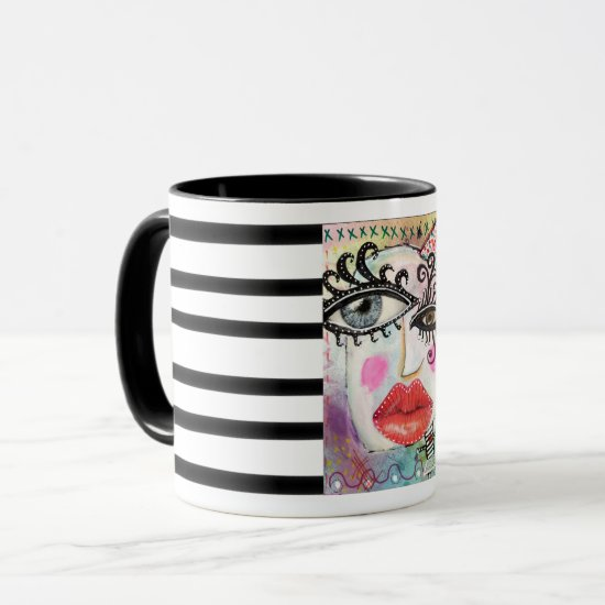 Collage Art Colorful Bold Lip Quirky Eyes Graffiti Mug