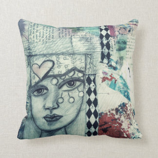collage art pillow with face