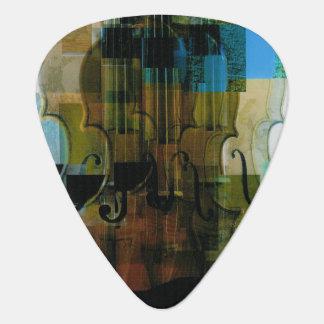 Collage atado del instrumento uñeta de guitarra