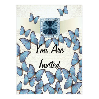 """Collage azul bonito de la mariposa del vintage invitación 5.5"""" x 7.5"""""""