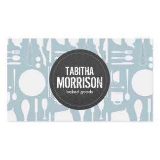 Collage azul de la cocina con la panadería gris plantillas de tarjetas de visita