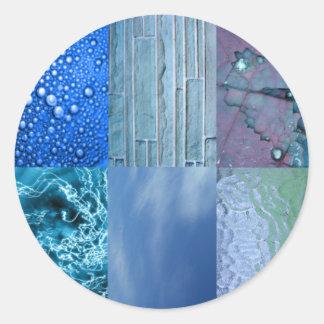 Collage azul de la foto pegatina redonda