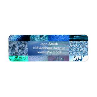 Collage azul de la fotografía etiquetas de remite