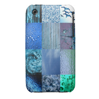 Collage azul de la fotografía iPhone 3 Case-Mate cárcasas