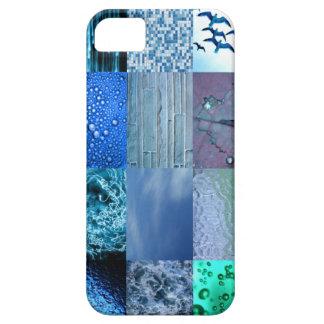 Collage azul de la fotografía iPhone 5 protectores