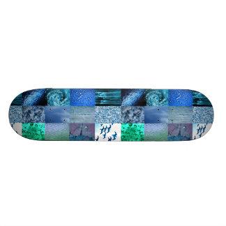 Collage azul de la fotografía tabla de skate
