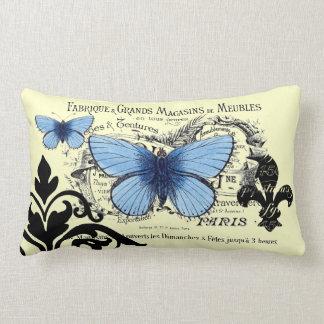 Collage azul de la mariposa del vintage cojín