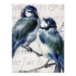 Collage azul de los pájaros del vintage - Bluebird Cojinete