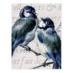 Collage azul de los pájaros del vintage - tarjeta postal