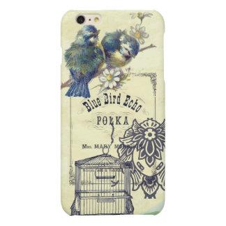 Collage azul del Birdcage del pájaro del vintage