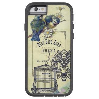 Collage azul del Birdcage del pájaro del vintage Funda De iPhone 6 Tough Xtreme