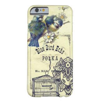 Collage azul del Birdcage del pájaro del vintage Funda Barely There iPhone 6
