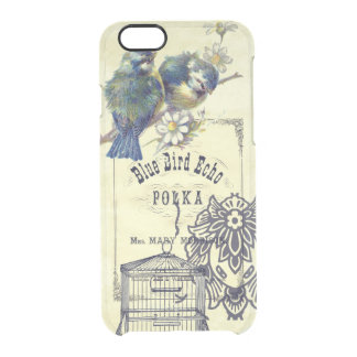 Collage azul del Birdcage del pájaro del vintage Funda Clear Para iPhone 6/6S