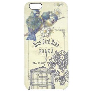 Collage azul del Birdcage del pájaro del vintage Funda Clear Para iPhone 6 Plus