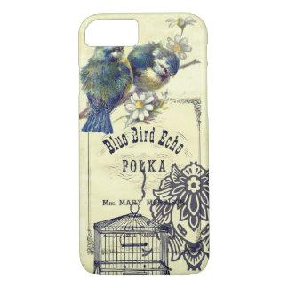 Collage azul del Birdcage del pájaro del vintage Funda iPhone 7