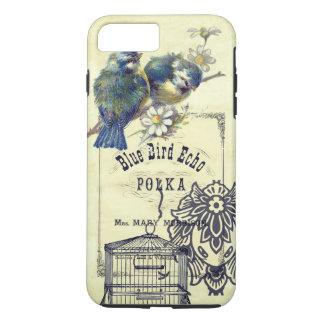 Collage azul del Birdcage del pájaro del vintage Funda iPhone 7 Plus