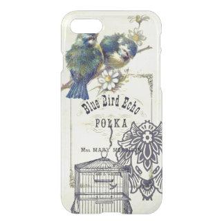 Collage azul del Birdcage del pájaro del vintage Funda Para iPhone 7