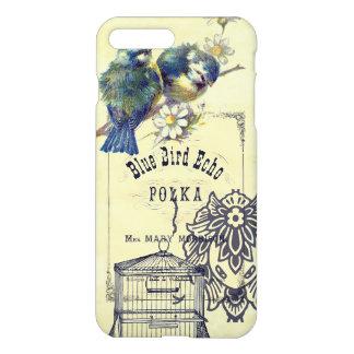 Collage azul del Birdcage del pájaro del vintage Funda Para iPhone 7 Plus