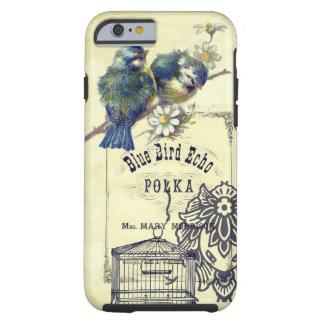 Collage azul del Birdcage del pájaro del vintage Funda Resistente iPhone 6