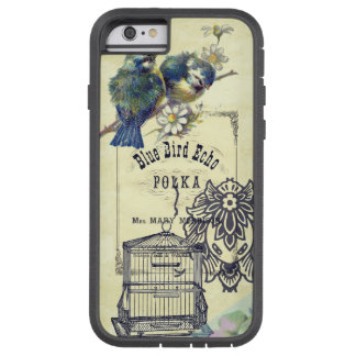 Collage azul del Birdcage del pájaro del vintage Funda Tough Xtreme iPhone 6