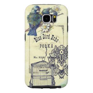 Collage azul del Birdcage del pájaro del vintage Fundas Samsung Galaxy S6