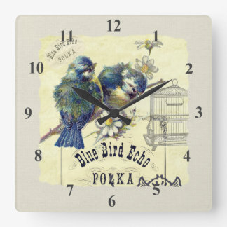 Collage azul del Birdcage del pájaro del vintage Reloj Cuadrado