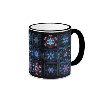 Collage azul del fractal taza de dos colores