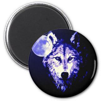 Collage azul marino de la noche del lobo y de la imán redondo 5 cm