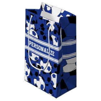 Collage azul marino del balón de fútbol bolsa de regalo pequeña