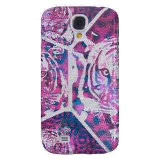 Collage azul rosado del tigre funda para galaxy s4