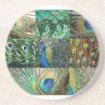 Collage azulverde de la foto del pavo real posavasos cerveza
