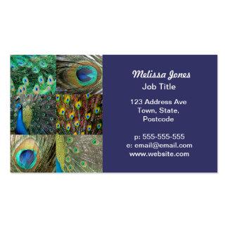 Collage azulverde de la foto del pavo real plantillas de tarjetas personales