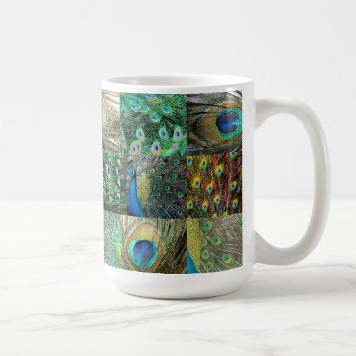 Collage azulverde de la foto del pavo real taza