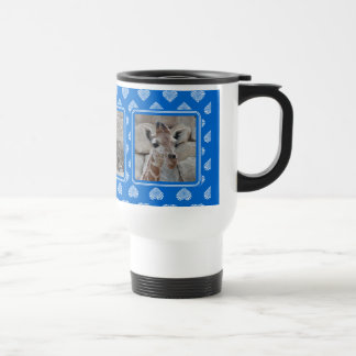 Collage blanco de la foto de los corazones taza de café