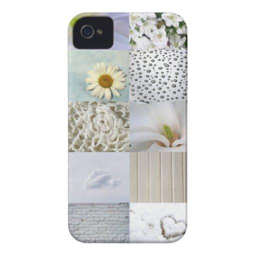 Collage blanco de la fotografía iPhone 4 cárcasa