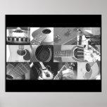 Collage blanco y negro de la foto de la guitarra posters