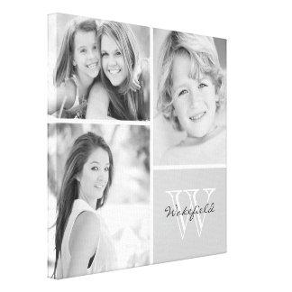 Collage blanco y negro de la foto del monograma de impresiones de lienzo