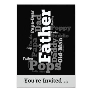 Collage blanco y negro de la palabra del padre invitación 8,9 x 12,7 cm