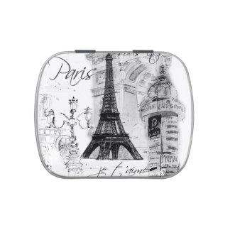 Collage blanco y negro de la torre Eiffel de París Jarrones De Dulces